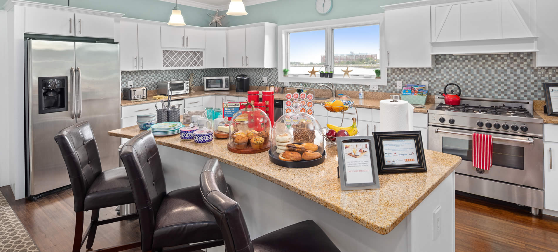 hull ma boutique hotel waterfront includes continental breakfast sitting on counter in kitchen
